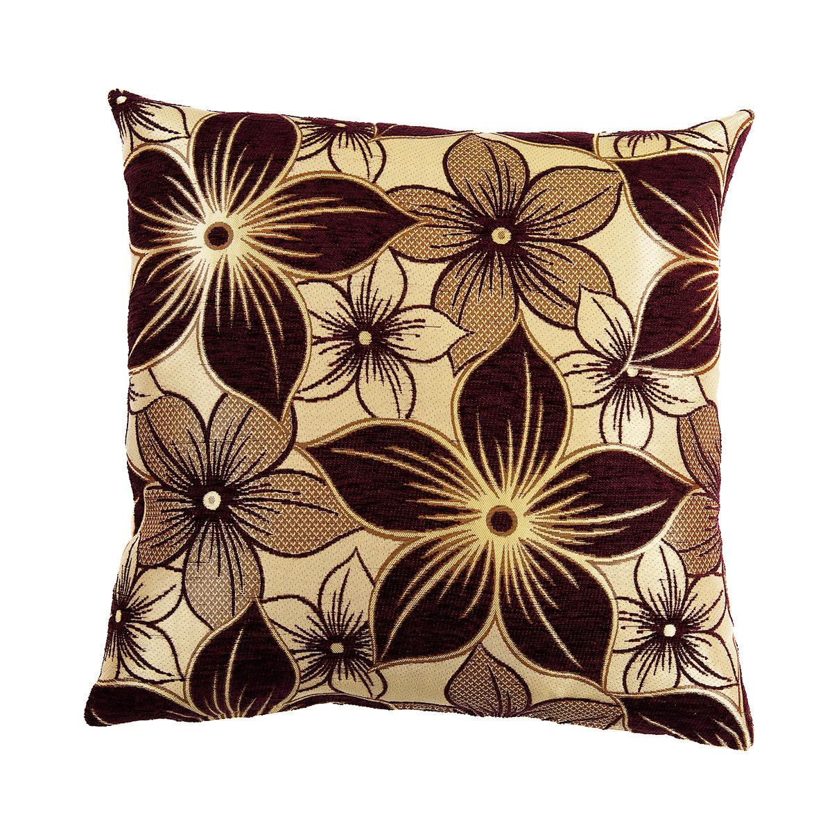 Chenille Jacquard Flowers Brown Gold Swirl Design Sw